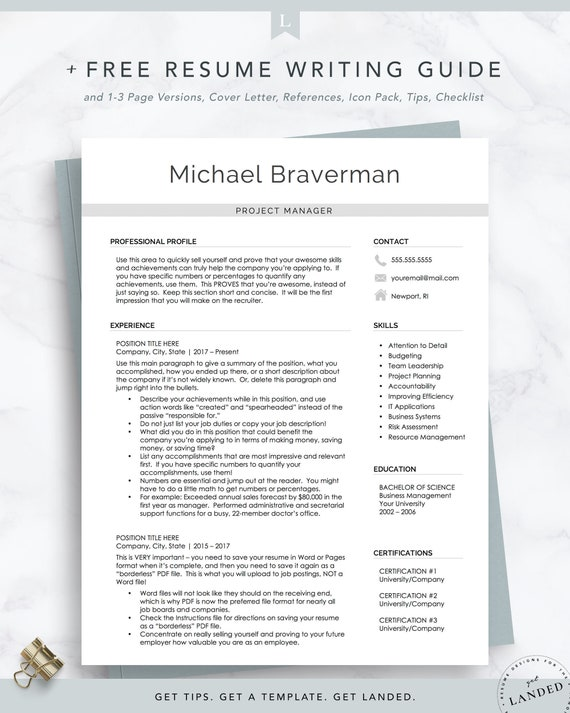 Project Manager Resume Template, Modern Resume Design   Professional Resume  Template for Word and Pages   Minimalist Resume Template for Mac