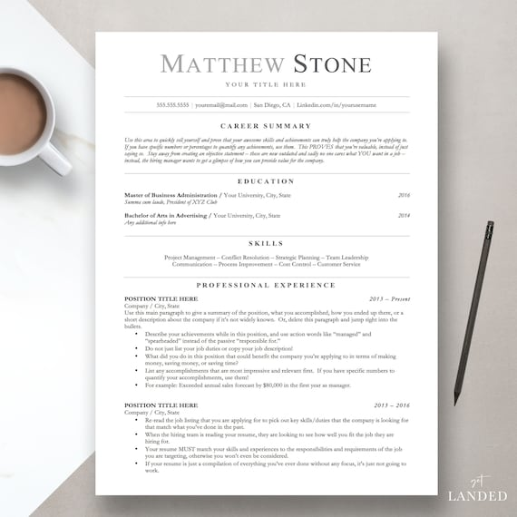 Professional Resume Template for Word, Pages & Open Office, ATS Resume,  Professional CV Template, Clean Resume, Simple Resume Template