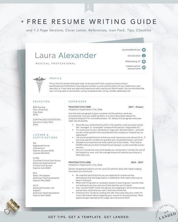 Nursing Resume Template For Medical Professionals Nurse Etsy