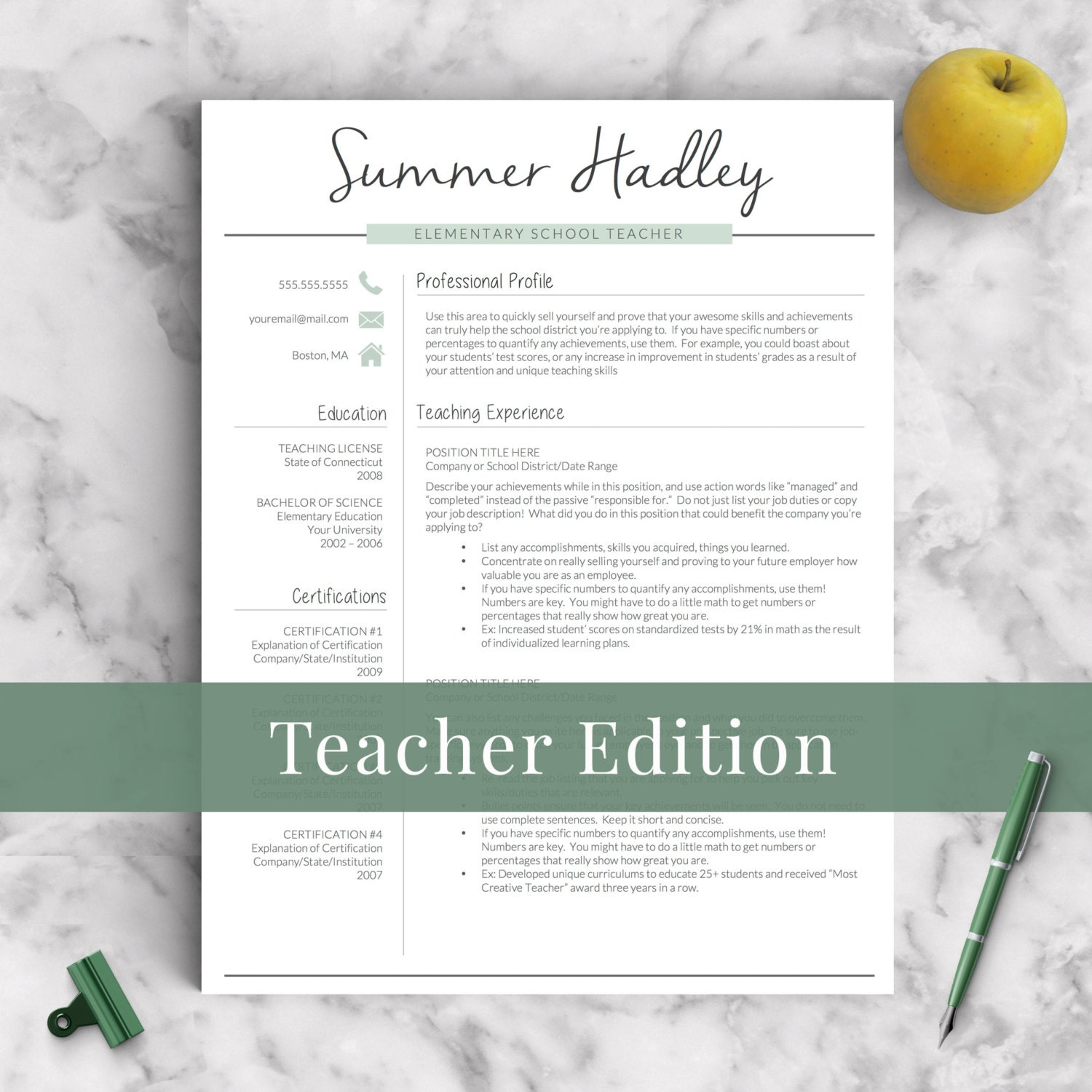 teacher resume template for word and pages 1