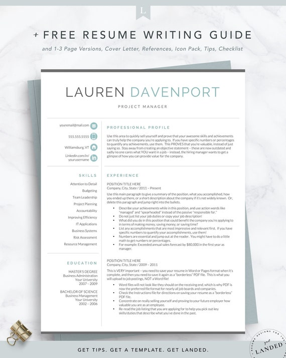 Resume Template For Word Pages Instant Download Etsy