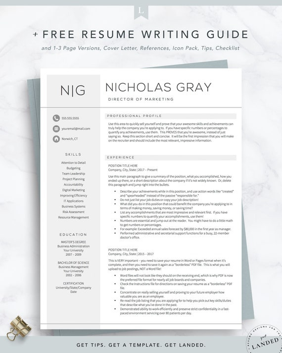 Director Resume Template for Word and Pages + Free Cover Letter Resume Tips  | One, Two, Three Page Resume Templates, Beige Tan Resume CV