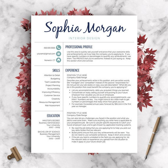 Creative Resume Template Resume for Word and Pages 1 2 & | Etsy