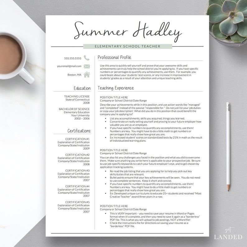 Teacher Resume Template For Word And Pages 2 Page Teacher