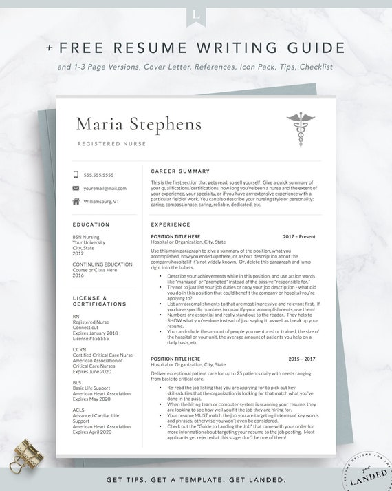 Nursing Resume Template, Nurse Resume Design, Nursing Student / Medical  Resume, Doctor CV Template, 2 Page Resume Template Instant Download