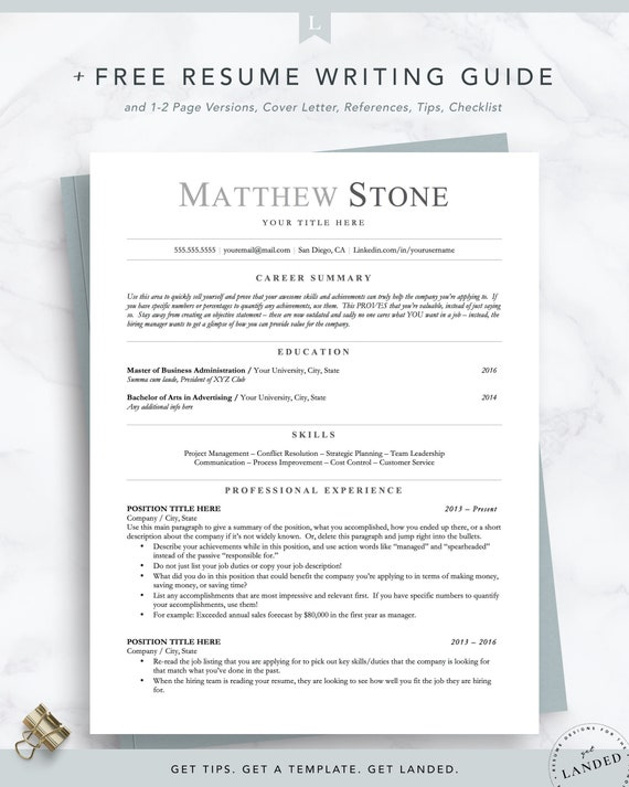 ATS Friendly Resume, Minimalist Resume Template for Word, Pages & Open  Office, Executive Resume, Academic, Engineer Resume Instant Download