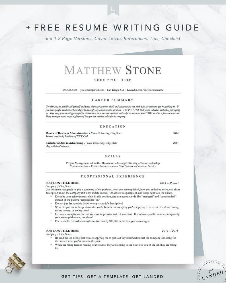 Ats Friendly Resume Minimalist Resume Template For Word Pages Open Office Executive Resume Academic Engineer Resume Instant Download