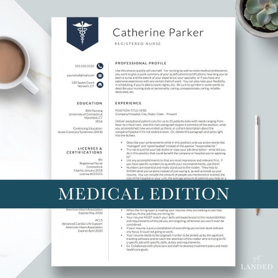 Nursing Resume Template For Word Pages Nurse Resume Doctor Resume Nurse Cv Rn Resume Medical Resume Template Instant Download