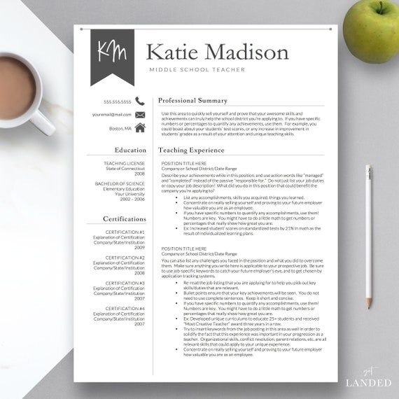Teacher Resume Template for Word & Pages | Teacher CV Template, Elementary  Resume, Teaching Resume, Educator Resume | Instant Download