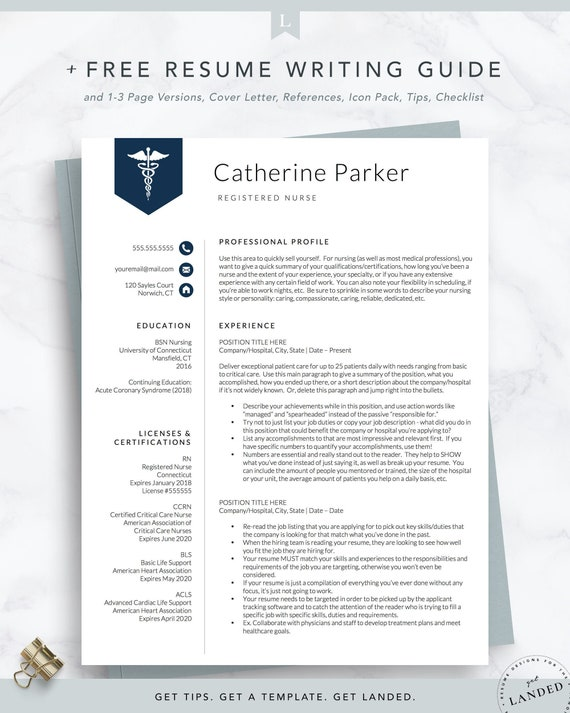 Nursing Resume Template for Word & Pages, Nurse Resume, Doctor Resume |  Nurse CV | RN Resume, Medical Resume Template | Instant Download