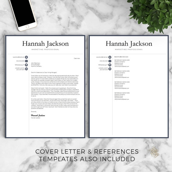 professional resume template for word and pages professional etsy