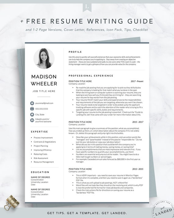 One Page Resume With Photo Cv Template With Photo Creative Etsy