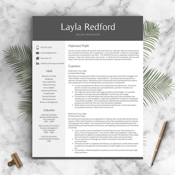Professional Resume Template for Word and Mac Pages | 1, 2 & 3 Page CV Template, Icon Set, Cover Letter | Instant Download Resume
