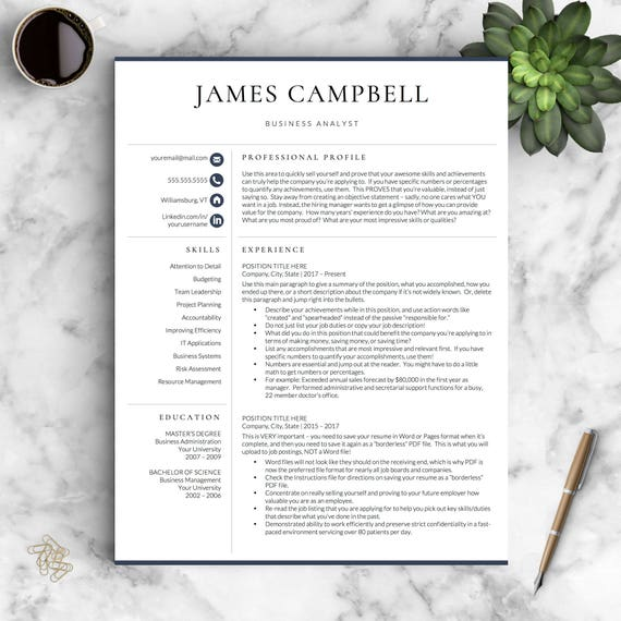 Professional Resume Template | Conservative Resume Template for Word & Pages | One, Two, Three Page Resume Template | Instant Download