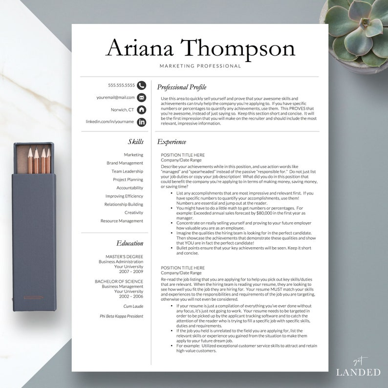 Simple Professional Resume Template for Word and Pages 1 2 | Etsy