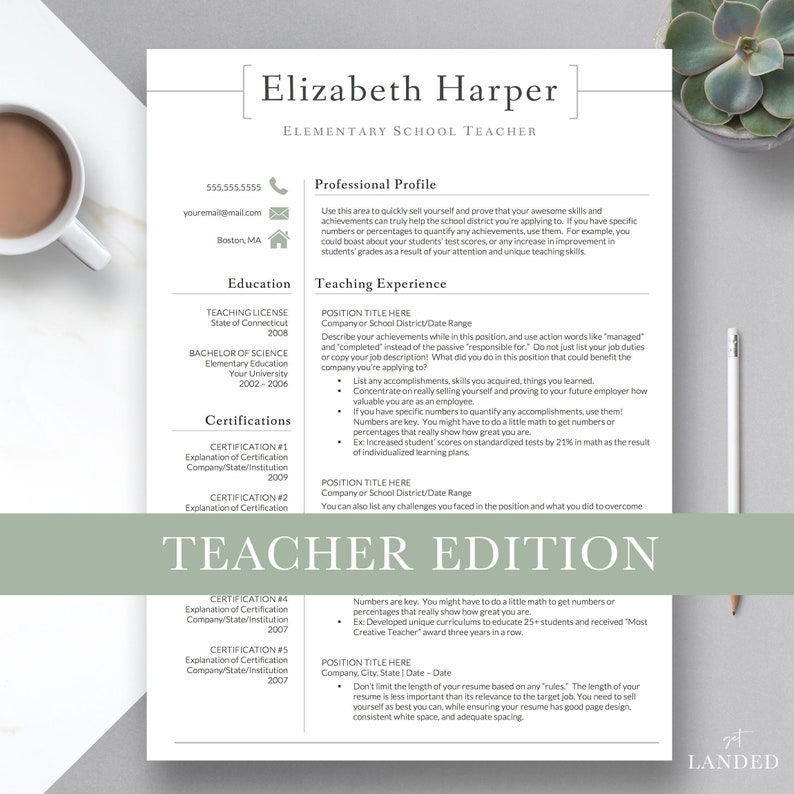 Teacher Resume Template For Word Pages CV