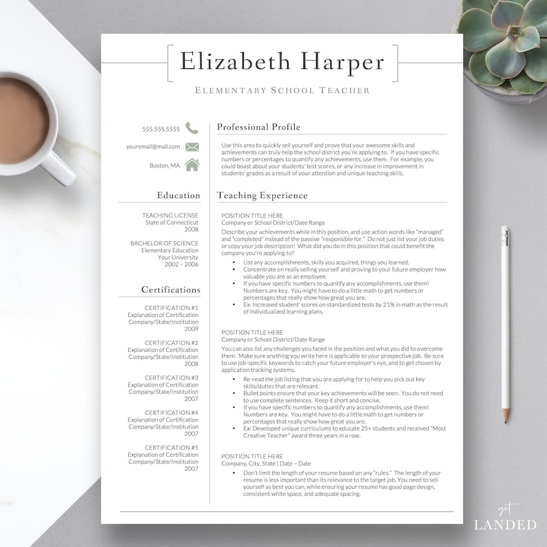 Teacher Resume Template for Word & Pages Teacher CV | Etsy