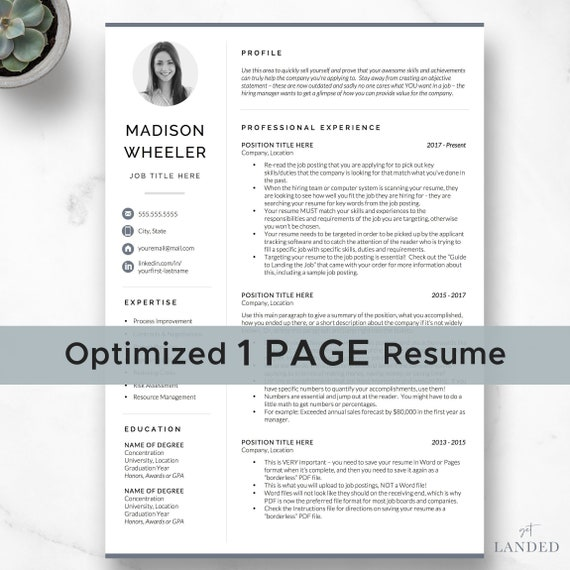 One Page Resume with Photo / CV Template with photo / Creative Resume  Template for Word & Pages / Instant Digital Download, Modern CV Design