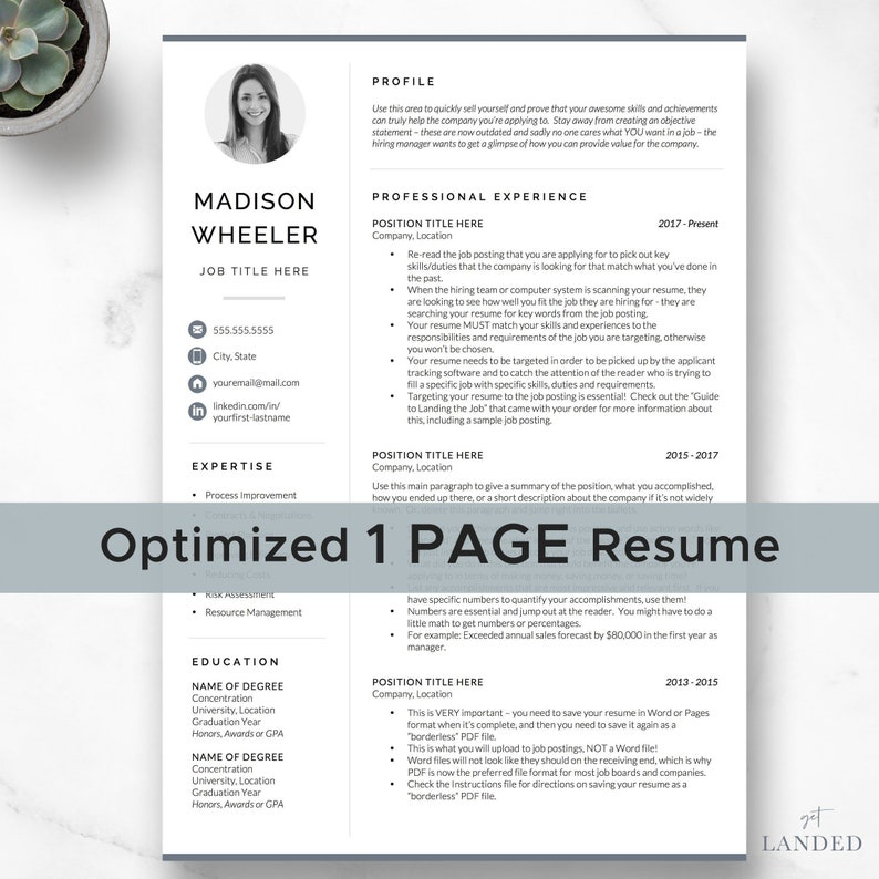 One Page Resume With Photo CV Template Creative