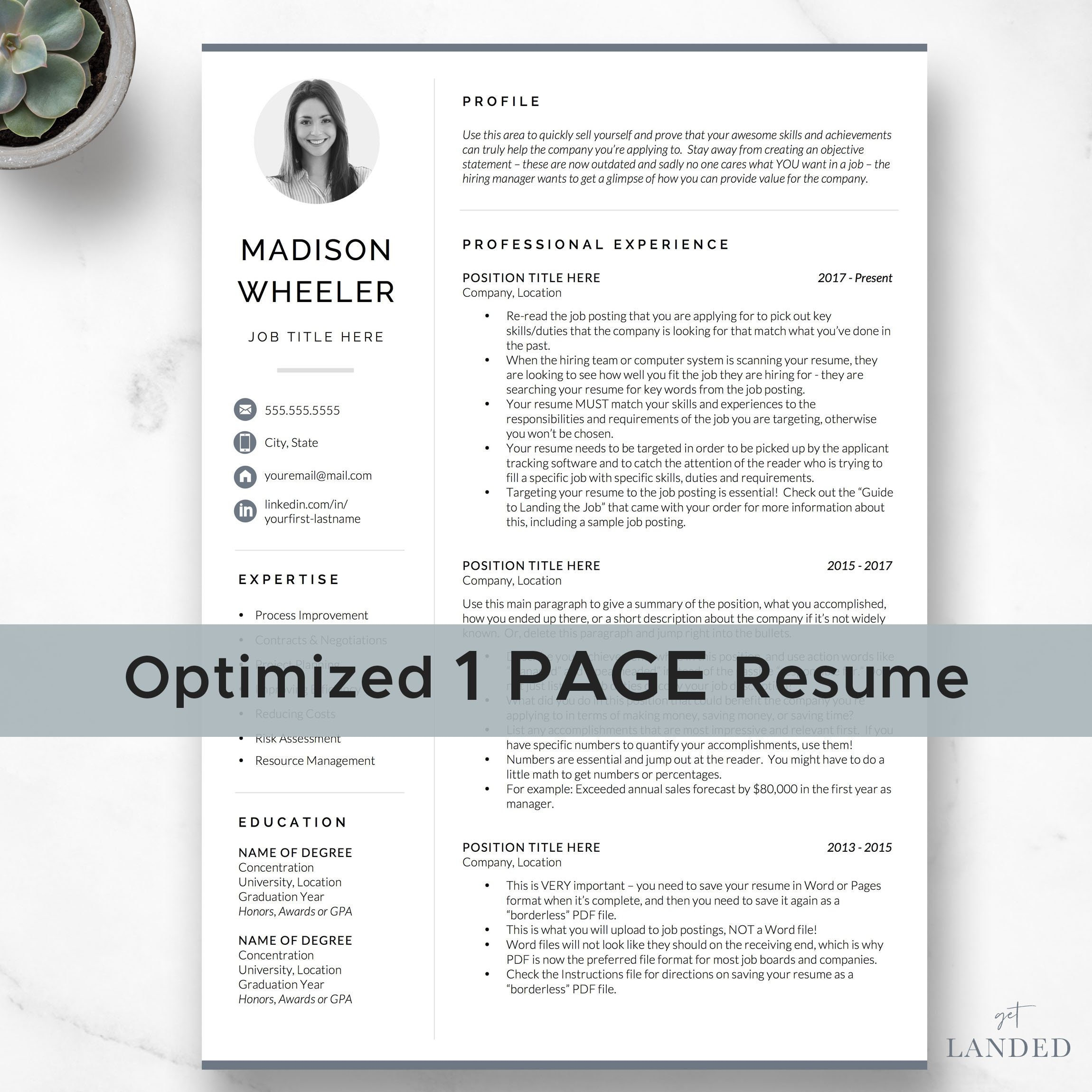 2 page resume template word