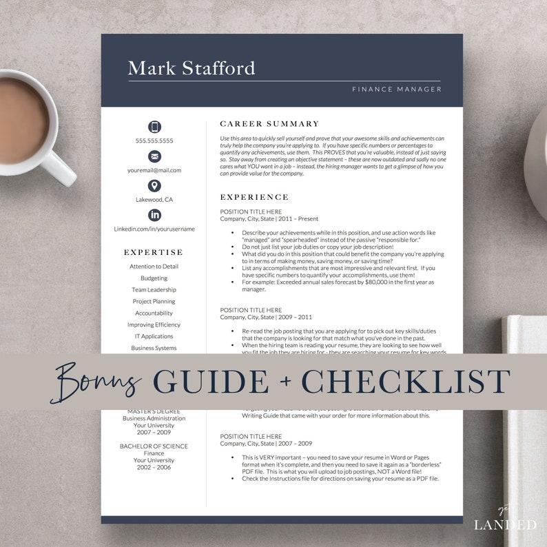 Professional Resume Template | Professional CV Template for Word | Engineer  Resume Template, Executive Resume Template, Finance Resume
