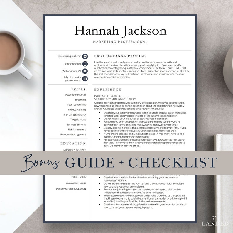 Accountant Resume Template For Word And Pages Professional