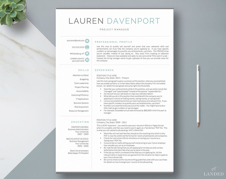 Resume Template CV Template CV Design Creative Resume | Etsy
