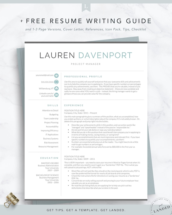 Resume Template, CV Template, Modern Resume Template for Word & Pages,  Curriculum Vitae, Teacher Resume Template Instant Download, Sales, PR