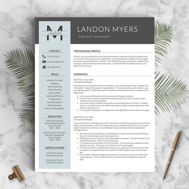 Modern Resume Template for Word and Pages (1, 2 & 3 Page Resumes + Cover Letter + Icons) | Creative Resume Template | Instant Download CV