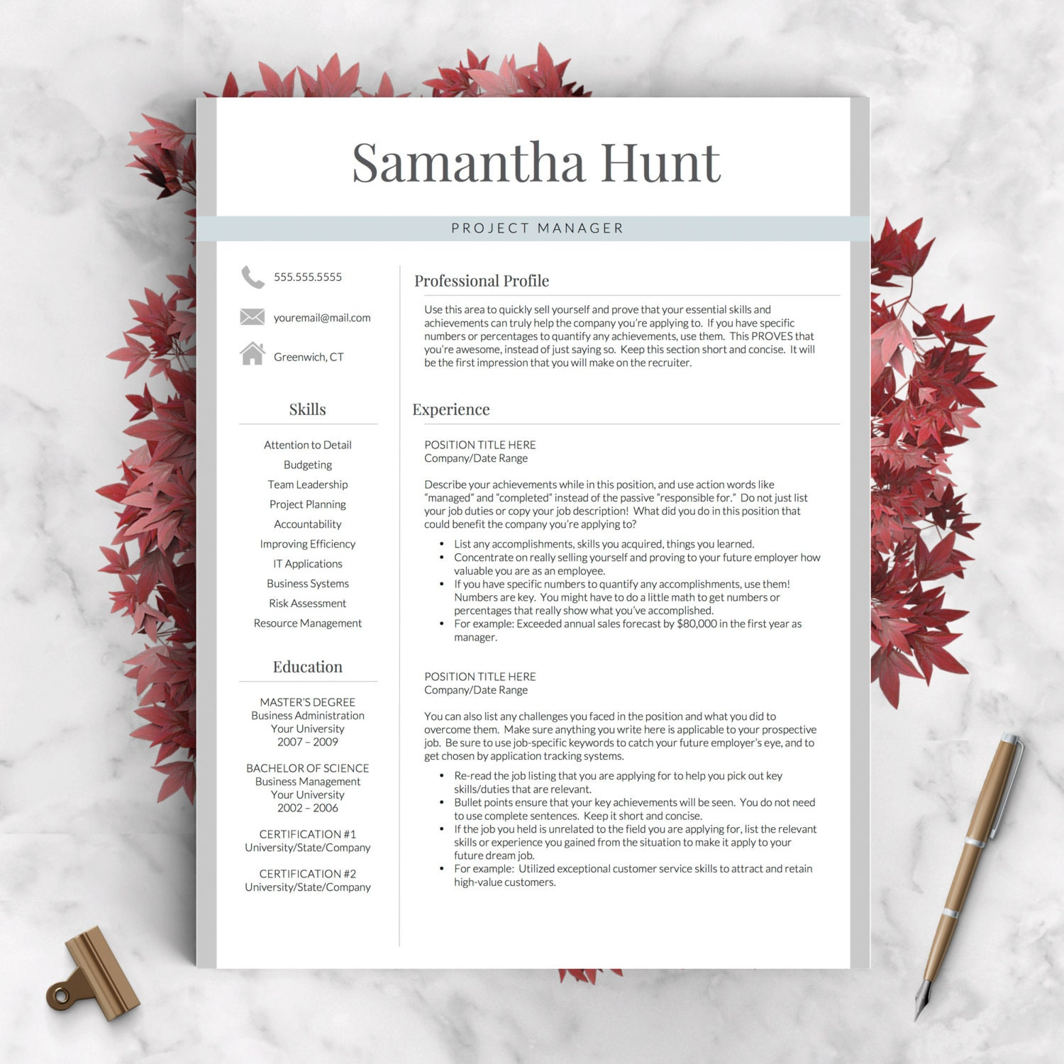 professional resume template for word and pages 1 2 and 3