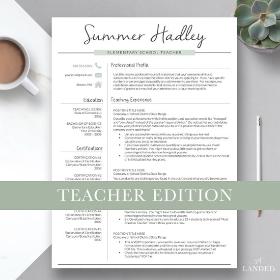 Teacher Resume Template For Word And Pages 2 Page Teacher Resume Creative Education Resume Elementary Resume Resume Teacher