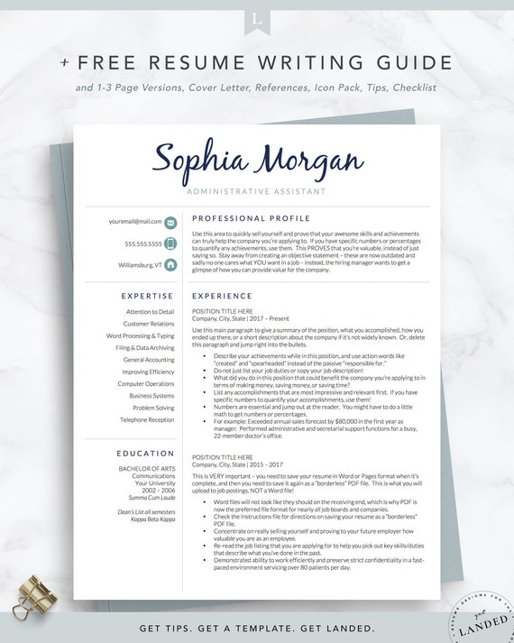 Executive Assistant Resume Template For Word And Pages 1 2 Etsy