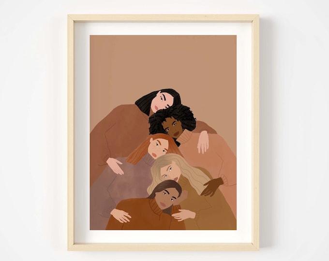 Featured listing image: Women supporting women art print, women empowerment art print, feminist art