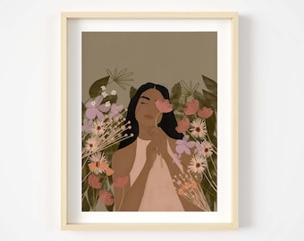 floral illustration print, woman of colour art print,bohemian print,girl art,illustration print, black woman art,wall decor,desert print