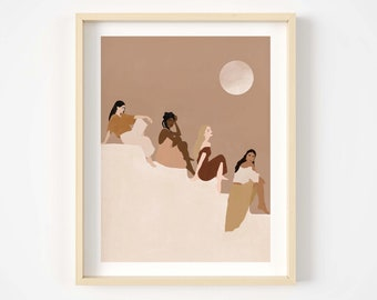 women empowerment art print, feminist art, wall decor, women supporting women poster, illustration print,