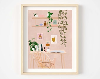 Decor illustration print,fashion illustration,girly print,digital art,cute illustration,cute print,wall decor,home illustration