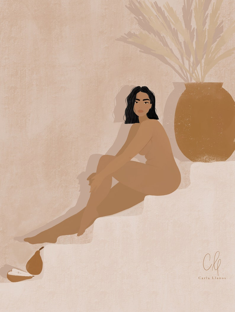 Woman nude illustration print image 1