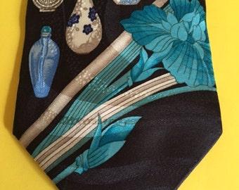Leonard Paris Silk Tie, Dessin No. 503008, Black Background with Turquoise Perfume Bottles, RARE, Tie Art