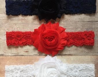 Set of 3 Baby Girl Headbands, Red White Blue Headbands, Lace Headbands, Baby Shabby and Chic headbands, Baby headbands, Headband set