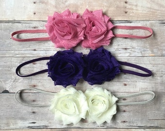 Baby girl headband set, Shabby chic headbands, baby headbands, newborn headbands, baby headband set, baby shower gift, baby hair bows