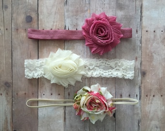 Shabby Chic Baby Headband, Set of 3 Headbands, Newborn Headband, Baby Hair Bows, baby shower gift, Vintage baby headbands, Newborn Headbands
