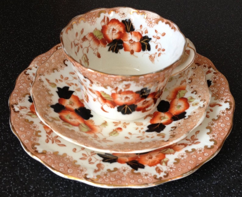 Antique Fine Bone China Teacup Trio of Cup, Saucer and Side Plate  Imari  Style, Hand Painted Peach Flowers  Gilt Trim and Scalloped Edges