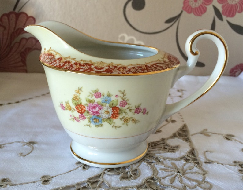 White Creamer With Floral Design Made In Japan Ceramics & Porcelain Antiques