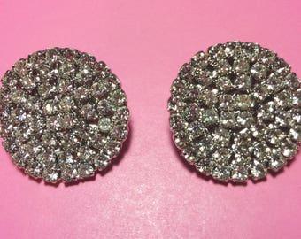 Vintage Rhinestone Button Earrings * 1970's Sparkling Circular Rhinestone Dots * Post Earrings *