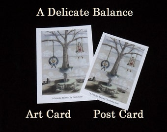 Postcards, art cards, A Delicate Balance; surreal prismacolor; tan red blue green clouds tire swing children mother earth tree mailing cards