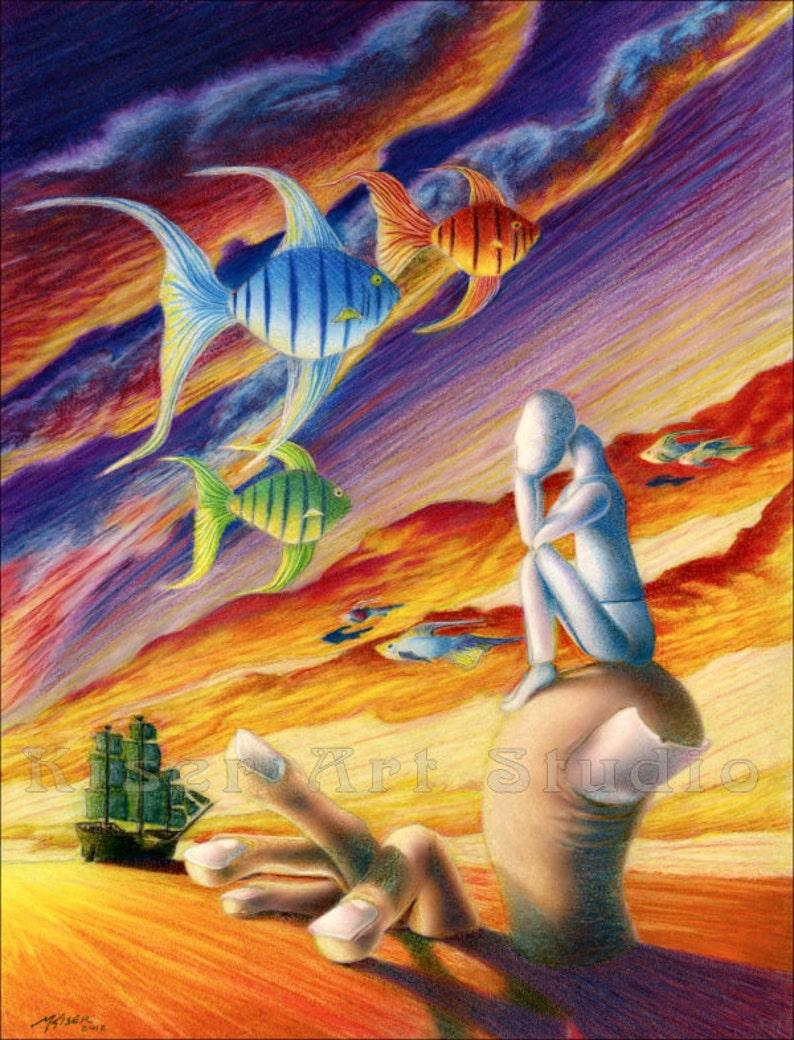 Surreal Giclee art print original prismacolor Marooned in image 0