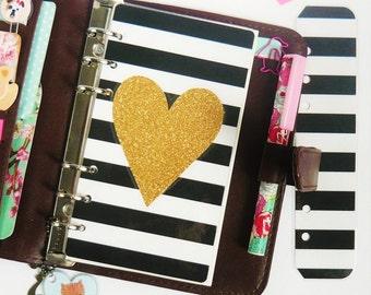 Striped Gold Glitter PERSONAL Planner Dashboard