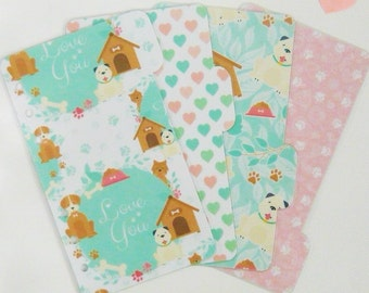 Set of 4 Cute Puppy Personal / A5 / Pocket Planner Dividers