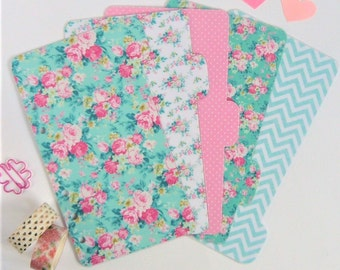 Set of 5 Teal and Pink Floral Personal / A5 / Pocket Planner Dividers
