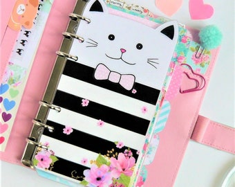 Floral Kitty Personal / A5 / Pocket Planner Dashboard